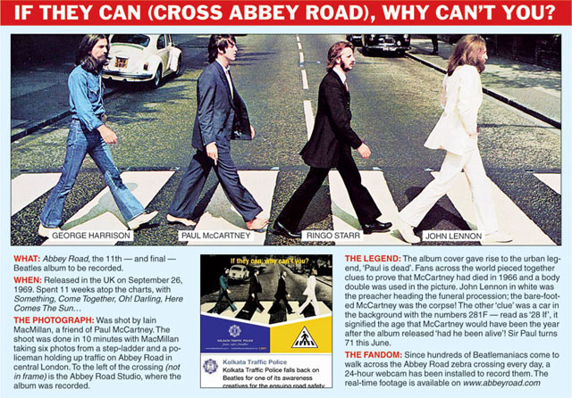 BEATLES 'ABBEY ROAD' COVER USED FOR TRAFFIC SAFETY CAMPAIGN
